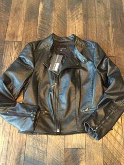 NWT BANANA REPUBLIC VEGAN LEATHER MOTO JACKET MEDIUM BLACK $