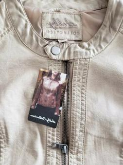 NWT Womens SEBBY COLLECTION Taupe Faux Leather Jacket Coat S