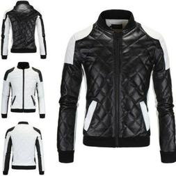 Occident Mens Coats Faux Leather Zipper Solid Motorcycle Cas