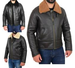 Original Sheepskin Flying Jacket For Men B3 Bomber Aviator P