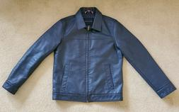 PRE-OWNED Tommy Hilfiger Navy Faux Leather Jacket Quilted Li