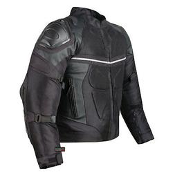 PRO LEATHER & MESH MOTORCYCLE WATERPROOF JACKET BLACK WITH E
