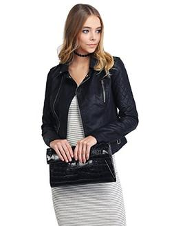 Qulited Sleeve Classic Rider Style Faux Leather Jackets Blac