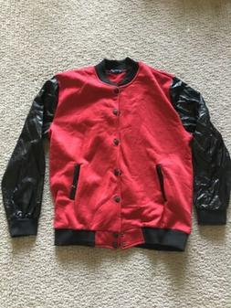 AOWOFS Red Leather Sleeves Button Down Sweater Jacket Mens S