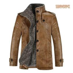 Retro PU Leather Jackets Men's Winter Warm Thick Coats Men W