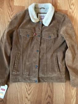 Size L Men's LEVI'S Suede Sherpa Leather Trucker Jacket Ra