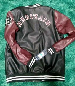 TOMMY HILFIGER *Spell out* Size XLT Burgundy/Black Faux Leat