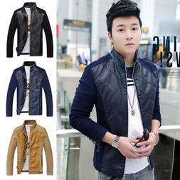 Splicing PU Leather Jacket Men's Slim Fit Motorcycle Coat Bi