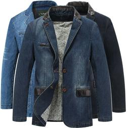 SPRING MEN'S SLIM LEATHER JEANS DENIM SUITS JACKET CASUAL BL