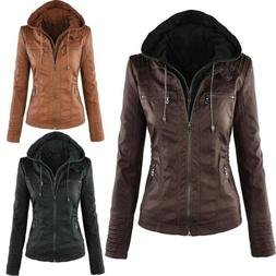 Spring Women Ladies PU Leather Jacket Motorcycle Biker Zip H