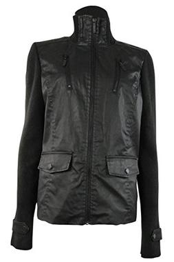 Tommy Hilfiger Women's Stand Collar Faux Leather Knit Jacket
