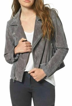 BlankNYC Suede Leather Moto Jacket Gray Size Small NEW