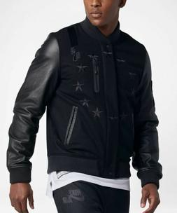 SZ L $600 NIKE AIR DESTROYER VARSITY BOMBER JACKET BLACK LEA