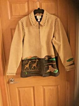 The Quacker Factory Suede Leather Jacket Coat Embroidered Sa