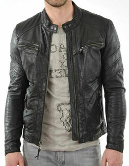 URBAN Men 100% Leather Jacket Motorcycle Slim fit Biker Genu