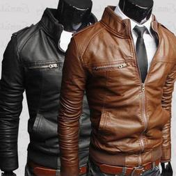 US Men's Fashion Jackets Collar Slim Fit Motorcycle Leather