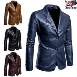 US Men's Faux Leather Slim Fit Formal Business Blazer Casual