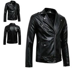 US Men's PU Faux Leather Coats Jackets Slim Motorcycle Biker