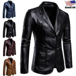 Men's Faux Leather Skinny Formal Business Blazer Casual Coat