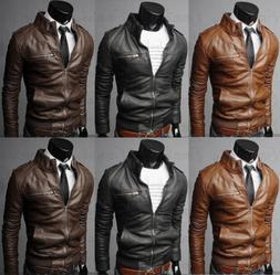 USA New Men's Fashion Jackets Collar Slim Motorcycle Leather