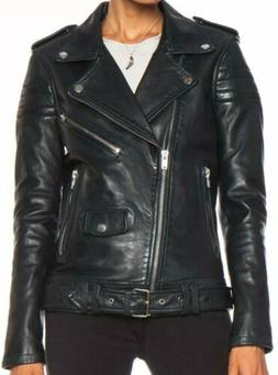 USA Jackets NEW Women 100% Lambskin Leather Large Black Slim