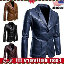 USA Men's Faux Leather Blazer Jacket Coat Top Casual Fashion