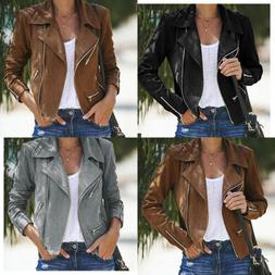 USA Women PU Leather Jackets Ladies Bomber Motorcycle Cool O