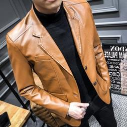 Vogue Men's Faux Leather Blazer Coats Button Slim Fit Jacket
