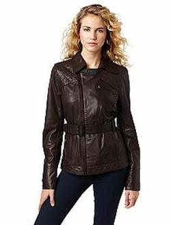 Ted Baker Vonnie Women's Brown Belted Leather Jacket  Size 2