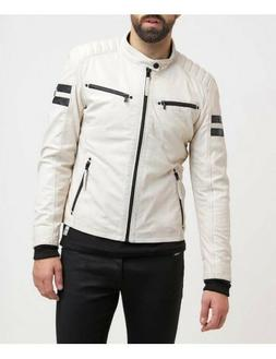 White Retro Men Genuine Lambskin Leather Motorcycle Jacket S