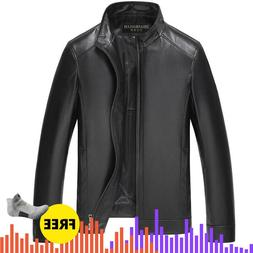 Winter Mens <font><b>Leather</b></font> Coat Jaqueta Couro M
