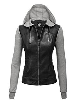 WJC1347 Womens Faux Leather Zip Up Moto Biker Jacket With Ho
