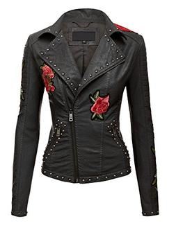 WJC1496 Womens Floral Embroidered Faux Leather Moto Jacket S