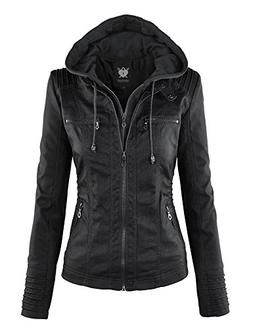 WJC663 Womens Removable Hoodie Motorcyle Jacket L Black