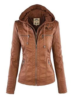Made By Johnny WJC663 Womens Removable Hoodie Motorcyle Jack
