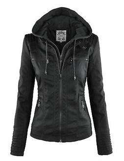 wjc663 womens removable hoodie motorcyle jacket l