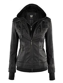 WJC664 Womens Faux Leather Jacket With Hoodie S Black