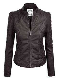 WJC746 Womens Vegan Leather Motorcycle Jacket M COFFEE