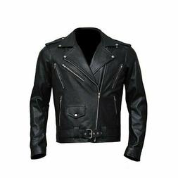 wolf pac black leather jacket men body