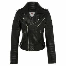 Women Black Real Leather Moto Jacket-Women's Genuine Lambski
