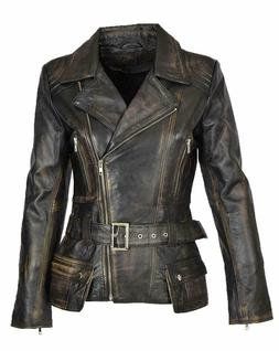 Women Cafe Racer Moto Biker Distressed Brando Black Vintage