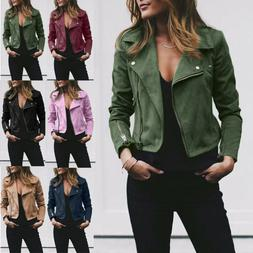 Women Faux Leather Biker Jacket Rivet Zipper Up Bomber Jacke