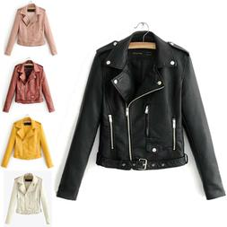Women Faux Leather Jacket Coats Zip Up Casual Biker Short Pu