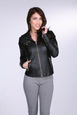 Women Faux leather Jacket GOLD White Black Brown Camel S,M,L