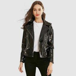 Women Glossy Faux Leather Jackets Spring Female Locomotive S