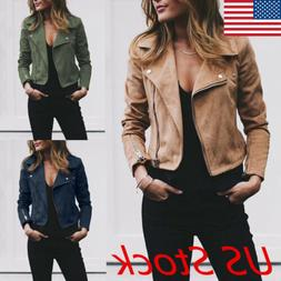 Women Ladies Leather Jacket Coats Zip Up Biker Casual Flight