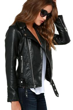 Women LambSkin Soft Real Leather Jacket Motorcycle Black Sli