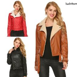 Women Lapel Long Sleeve Faux Leather Shearling Motorcycle Co