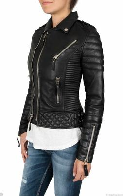 Women's Black Moto Style Genuine Lambskin Motorcycle Slim fi