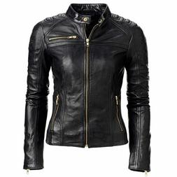 Women's Black Slim Fit Biker Style Real Leather Jacket